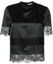 Givenchy - lace embroidered blouse - women - Silk/Polyamide/Cotton - 40 - BLACK