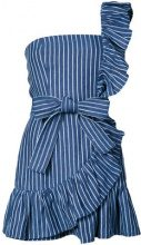 Alexis - striped print frill trim one shoulder dress - women - Linen/Flax/Polyester - S, M - BLUE