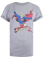 DC Comics Retro Supergirl, T-Shirt Donna, Grey(Sport Grey), 40