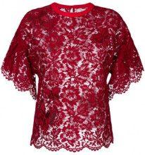 Valentino - Blusa in pizzo - women - Cotton/Viscose/Polyamide/Polyester - 40, 42 - RED