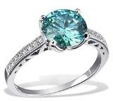 Goldmaid anello da donna in argento massiccio 925 verde menta, con pietra Swarovski turchese e 16 zirconi bianchi Fa R7115SR