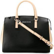 Armani Jeans - contrast panel tote bag - women - Polyester/Cotton/Viscose/Polyurethane - OS - BLACK