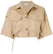 Red Valentino - cropped oversize jacket - women - Cotton/Spandex/Elastane/Acetate/Polyester - 38, 40, 42, 44 - NUDE & NEUTRALS