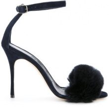 Manolo Blahnik - Sandali 'Mincha 105' - women - Rabbit Fur/Calf Suede/Leather - 35, 36, 37, 37.5, 38, 38.5, 39, 40, 36.5 - BLACK