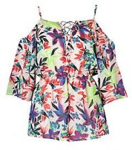 Sadie Neon Leaf Cold Shoulder Playsuit