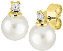 Diamond Line 14_k_(585) oro giallo palla Rotonda Coltivate Akoya H Diamante