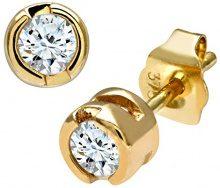Naava Orecchini a Perno da Donna in Oro Giallo 9K con Diamante,