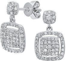 Naava Orecchini Pendenti da Donna, Oro Bianco, 18 Carati (750), Diamante