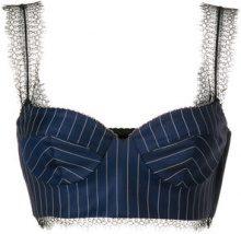 Versace - Bralette gessato - women - Virgin Wool/Viscose/Polyamide/Silk - 42 - BLUE