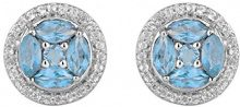 Jewelili Donna  925  argento smeraldo   blu Topazio FASHIONEARRING