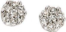 Elementi da donna in oro 9kt oro bianco diamante cluster orecchini
