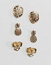 ASOS DESIGN - Set da 3 orecchini a bottone con ananas e foglia di palma - Oro