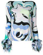 Emilio Pucci - Blusa con frange sulle maniche - women - Viscose/Silk - 44, 38, 48, 40, 46, 42 - BLUE
