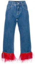 Dolce & Gabbana - Jeans boyfriend - women - Cotton/Ostrich Feather/Acetate - 38, 40 - BLUE