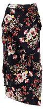Abigail Woven Ruffle Floral Split Midaxi Skirt