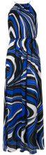 Emilio Pucci - Abito con stampa astratta - women - Silk/Polyamide - 42 - BLUE