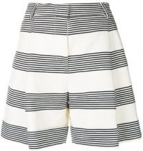 Piazza Sempione - striped wide leg shorts - women - Cotton/Linen/Flax - 42, 44 - WHITE