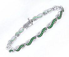 Theia - TH2460, Gioiello in argento sterling con smeraldo 1.5 carati, verde, 18.8 centimeters