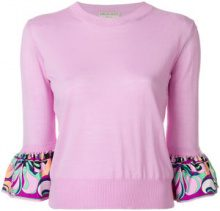 Emilio Pucci - frilled-sleeve top - women - Virgin Wool/Silk - S, XS, L, XL, M - PINK & PURPLE