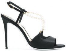 René Caovilla - pearl embellished sandals - women - Leather - 35.5, 38.5, 39, 40 - BLACK