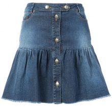 Red Valentino - ruffled buttoned denim skirt - women - Cotton/Spandex/Elastane - 40, 42, 44 - BLUE