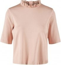 Y.A.S Shiny Flounce Short Sleeved Top Women Beige
