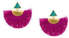 Katerina Makriyianni - mini fan earrings - women - 24kt Gold/Bronze/Silver/Rayon - OS - PINK & PURPLE