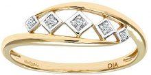Naava Anello Donna in Oro Giallo 375/1000 con Diamante 0.02 Carati, 13