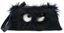 Anya Hindmarch - Borsa Clutch 'Creeper' - women - Lamb Skin/Lamb Fur - One Size - BLUE