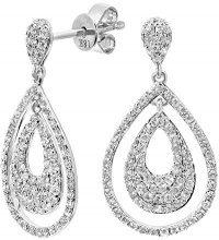 Naava Orecchini a Perno da Donna, Oro Bianco, 18 Carati, Diamante