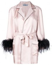 Prada - Cappotto a portafoglio - women - Silk/Ostrich Feather/Peacock Feathers - S, M - PINK & PURPLE
