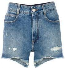 Stella McCartney - Shorts strappati - women - Cotone - 26, 27, 28, 25, 29, 24 - Blu