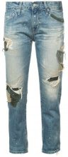 Ag Jeans - ex boyfriend distressed patchwork jeans - women - Cotton - 26, 24, 25, 27 - BLUE