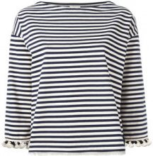 Moncler - pom pom fringed trim striped top - women - Cotton - XS, S, M - BLUE