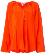 Elizabeth And James - tie neck tunic - women - Silk - S - YELLOW & ORANGE