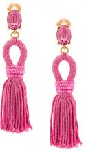 Oscar de la Renta - Orecchini pendenti con nappina - women - Silk/Brass/glass - One Size - PINK & PURPLE