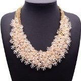 Twopages - Collana spessa a girocollo con perle di cristallo, regalo per le donne