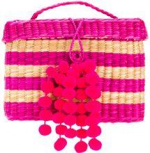 Nannacay - stripe panel pom pom bag - women - Straw - OS - PINK & PURPLE