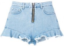 MSGM - frilled denim short shorts - women - Cotton/Polyester - 40, 44, 42, 38 - BLUE