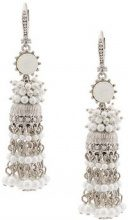 Marchesa Notte - beaded tassel earring - women - metallo placcato argento/Crystal - OS - GREY