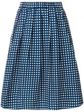 Michael Michael Kors - gathered checked midi skirt - women - Cotton/Nylon/Spandex/Elastane - L, XS, S, M - BLUE