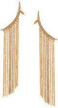 Oscar de la Renta - tendril drop pierced earring - women - Crystal/Brass/Pewter - OS - YELLOW & ORANGE