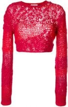 Helmut Lang - Maglioncino corto forellato - women - Wool/Mohair/Cashmere/Polyamide - S - Rosso