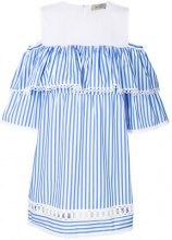 Ki6 - striped ruffled dress - women - Cotton/Polyester - 42, 44 - BLUE