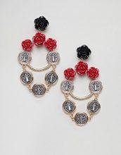 ASOS DESIGN - Orecchini pendenti a rosa e moneta con catenina - Oro
