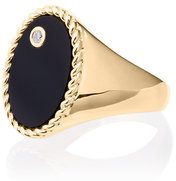 Yvonne Léon - Gold Chevalière Onyx Diamond Ring - women - Agate/18kt Gold/Diamond - 46 - METALLIC