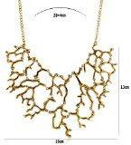 Lureme annata esagerato collana della lega di corallo modello dichiarazione choker (01003293-1) oro