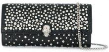 Alexander McQueen - Portafoglio borchiato con catena - women - Calf Leather - OS - Nero