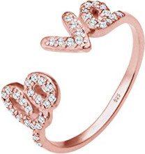 """Elli, anello da donna con scritta """"love"""", in argento Sterling 925con zirconi bianchi, taglio a brillante, argento, 54 (17.2), colore: rosé, cod. 0602930316_54"""
