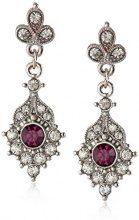 Downton Abbey argento, ametista e orecchini a goccia con cristallo